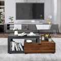 Modern Chic Glass Top Cocktail Coffee Table with Storage Cabinet