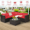 6 Pieces Patio Furniture Sofa Set with Cushions for Outdoor