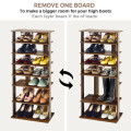 7-Tier Dual 14 Pair Shoe Rack Free Standing Concise Shelves Storage