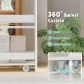 Rolling Kitchen Slim Storage Cart Mobile Shelving Organizer with Handle