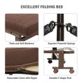 Folding Adjustable Guest Bed Frame with Mattress and Wheels for Camping and Office
