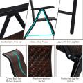 2 Pieces Patio Rattan Folding Reclining Chair
