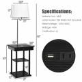 Floor Lamp Bedside Desk with USB Charging Ports Shelves