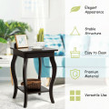 Set of 2 Side Table End Table Night Stand with Shelf