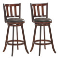 Set of 2 Wood Swivel Counter Height Dining Pub Bar Stools with PVC Cushioned Seat