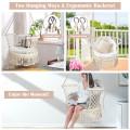 Hanging Hammock Chair Macrame Swing Hand Woven Cotton Backrest