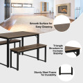 Modern 3 Piece Dining Table with 2 Benches