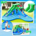 Inflatable Water Park Crocodile Bouncer Dual Slide Climbing Wall Without Blower