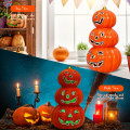 Halloween 3-Tier Color-Changing Lighted Ceramic Pumpkin Lantern