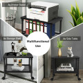 2-Tier Rolling Under-Desk Printer Stand with Storage Shelf for Home/Office