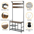 3-In-1 Industrial Coat Rack Stand with 9 Hooks Shoe Bench