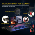 """K-Shaped Computer Gaming Desk 45"""" Racing Desk with Cup Headphone Holder and Game Storage"""