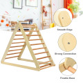 Foldable Wooden Climbing Triangle Indoor with Ladder for Toddler Baby