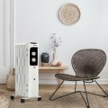 1500W Oil Filled Portable Radiator Space Heater with Adjustable Thermostat