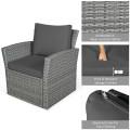 4 Pcs Patio Rattan Furniture Set Sofa Table with Storage Shelf Cushion
