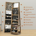 360° Rotatable Armoire 2-in-1 Lockable Mirrored Jewelry Cabinet
