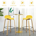 Set of 2 Modern Barstools Pub Chairs with Low Back and Metal Legs