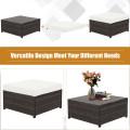 5 Pcs Patio Cushioned Rattan Furniture Set