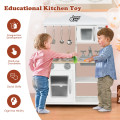 Wooden Pretend Play Kitchen Set for Kids with Accessories and Sink