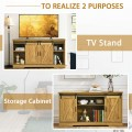 """59"""" TV Stand with Adjustable Shelf and Sliding Barn Door Cabinet"""