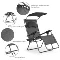 Folding Recliner Lounge Chair with Shade Canopy Cup Holder
