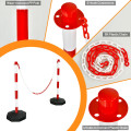 """6 Pack 34"""" Traffic Delineator Poles with 5FT Chains and Fillable Base"""