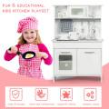 Kids Pretend Kitchen Playset Gift with Utensils White