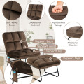 Massage Chair Velvet Accent Sofa Chair with Ottoman and Remote Control