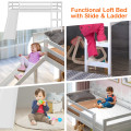 Twin Size Low Sturdy Loft Bed with Slide Wood