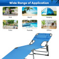 Folding Beach Lounge Chair with Pillow for Outdoor