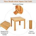 Wooden Square Patio Coffee Bistro Table