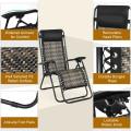 Folding Patio Rattan Zero Gravity Lounge Chair Recliner