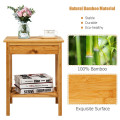 Bamboo Nightstand End Table with Drawer Storage Shelf