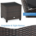 3 Pieces Patio Rattan Furniture Set with Cushion