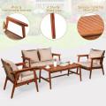 4PCS  Acacia Wood Patio Rattan Furniture Set
