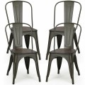 4 pcs Tolix Style Metal Dining Side Chair Stackable Wood Seat