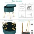Round Velvet Storage Ottoman Footrest Stool Vanity Chair with Metal Legs