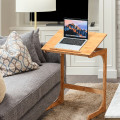 Adjustable C-Shape Couch End Table wth Tilting Top