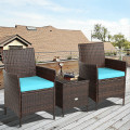 3Pcs Patio Rattan Furniture Set Cushioned Sofa and Glass Tabletop Deck