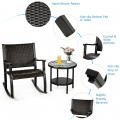3 Pcs Patio Rattan Rocking Chair Bistro Set with Coffee Table for Backyard Porch Poolside Lawn