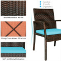 7Pieces Patio Rattan Cushioned Dining Set with Umbrella Hole