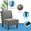 Single Fabric Modern Armless Accent  Sofa Chair with Rubber Wood Legs