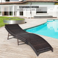 2 Pieces Folding Patio Lounger Chair