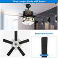 """52"""" Ceiling Fan with Light Reversible Blade and Adjustable Speed"""