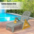 5 Position Adjustable Folding Lounger Chaise Chair on Wheels