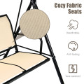 3 Person Steel Frame Patio Swing with Polyester Angle and Adjustable Canopy