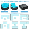 7-Piece Sectional Wicker Furniture Sofa Set with Tempered Glass Top