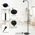 Industrial Floor Lamp with Glass Shade