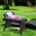 Folding PE Rattan Side Coffee Table Patio Garden Furniture