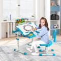 Height Adjustable Kids Study Table and Chair Set with Bookstand